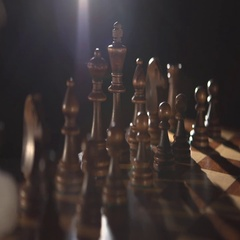 Play chess  Figures on the chess field in fog Stock Footage