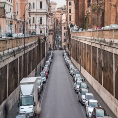 Dusk timelapse of the Roman street Via degli Annibaldi with car traffic. Stock Footage