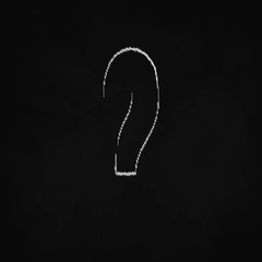 Question mark animation, chalk sketch style on black board, confusion concept Stock Footage