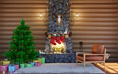 Room interior in log cabin with stone fireplace. Christmas living room interior Piirros