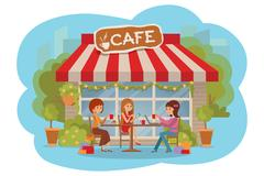 Three beautiful women talking at coffee shop outdoor while drinking and using Stock Illustration
