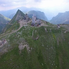 Aerial view of the Omu chalet, Bucegi mountains, Romania Stock Footage