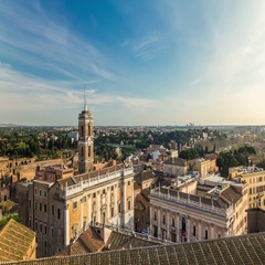 Aerial view timelapse of Capitoline Hill from Vittoriano at sunny day Stock Footage