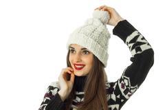 Happy girl in warm winter sweater Stock Photos