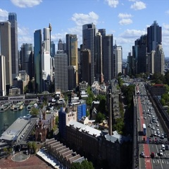 73 Sydney skyline with the Southern approach of the Sydney Harbour Bridge Aus Stock Footage