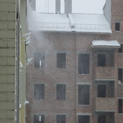 Blizzard on building houses, Ivano-Frankivsk, Ukraine Stock Footage