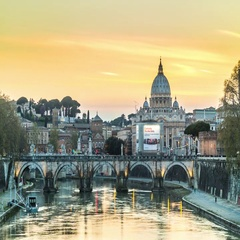 Timelapse of Vatican at sunset with Tiber river and Ponte Sant'Angelo Stock Footage