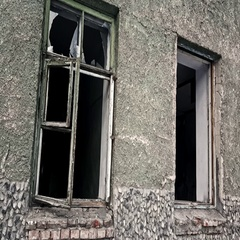Closeup view broken windows of destroyed house Stock Footage