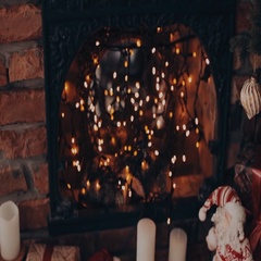 Christmas interior in red. Fireplace, a chair and a plaid Christmas Socks Stock Footage