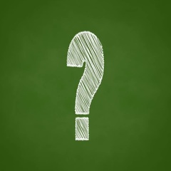Question mark animation, chalk sketch style on green chalk board, confusion conc Stock Footage