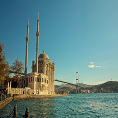 Ortakoy Mosque and Bosphorus Bridge in Istanbul, Turkey Stock Footage
