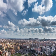 Timelapse of clouds over the Rome and Vatican's Saint Peter's basilica Dome Stock Footage