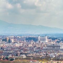 Close-up timelapse of clouds over the Rome and Vittoriano National Monument Stock Footage