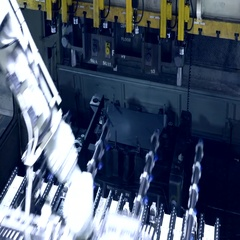 Pressing sheet metal in automotive factory Stock Footage