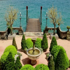 Italian Garden of Luxury Hotel on Garda Lake in Italy. Stock Footage
