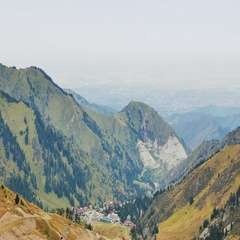 Panorama of the pass Shymbulak, Almaty, Kazakhstan Stock Footage