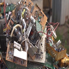 Computer board at dump Stock Footage
