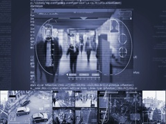 Tunnel - Security Camera - Surveillance - Cyber - blue - SD Stock Footage