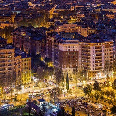 Night city traffic timelapse of roman square. Rome, Italy. April, 2016. Stock Footage