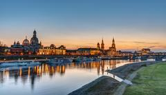 The Towers of Dresden at sunset Stock Photos