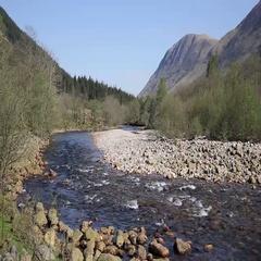 Beautiful Scottish Highlands River Nevis south of Ben Nevis Scotland UK Stock Footage