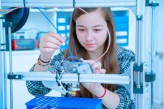 Female Architect Using 3D Printer Stock Photos