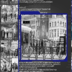 Tram Stop  - Security Camera - Surveillance - Cyber - grey Stock Footage