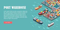 Cargo Port Illustration in Isometric Projection Stock Illustration