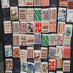 Square souvenir magnets with oriental pictures Stock Footage