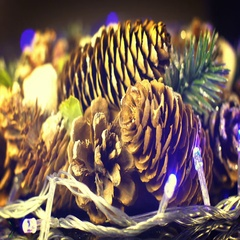 Pine cones and blinking christmas lights seamless loop 4k UHD (3840x2160) Stock Footage