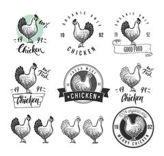 Chicken product logotypes set. Hen meat and eggs vintage produce elements. Stock Illustration