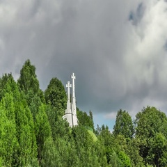 Close-up timelapse of three crosses in Vilnius, Lithuania. Stock Footage