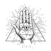 All seeing eye symbol nside triangle pyramid. Eye of Providence. Masonic symbol. Stock Illustration