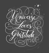 Hand-drawn calligraphy lettering Universe Loves Gratitude Stock Illustration