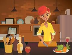 Woman cooking in the kitchen. Healthy eating illustration. Stock Illustration