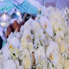 White roses and orchids decorated Stock Footage