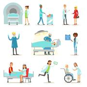 Injured And Sick Patients In The Hospital Receiving Medical Healthcare From Stock Illustration