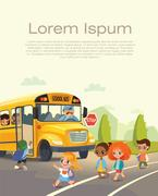 School bus stop. Back To School Safety Concept. Kids riding on a school bus. Stock Illustration