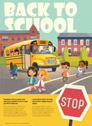 School bus stop. Back To School Safety Concept. Kids riding on the school bus. Stock Illustration