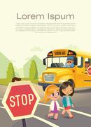 School bus stop. Back To School Safety. Kids riding on a school bus. Stock Illustration