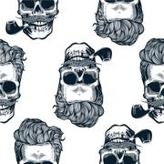 Hipster seamless pattern with skull silhouettes in engraving style , Stock Illustration