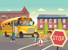Back To School Safety. Illustration depicting School bus stop, Stock Illustration