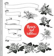 Set of white roses and ribbons in vintage engraving style. Stock Illustration