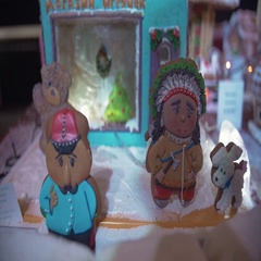 Christmas gingerbread cookies with ornaments. New Year atmosphere Stock Footage