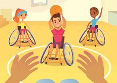 Handisport. Boys and girls in wheelchairs playing baseball Stock Illustration