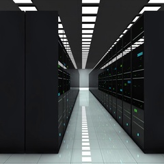 Server room. LED lights are flashing. Technology. Camera moves to the right Stock Footage