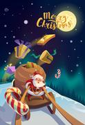 Christmas Card. Santa  in the winter forest. Merry Christmas Lettering. Stock Illustration