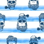 Seamless pattern with skulls silhouettes watercolor stripes at the background. Stock Illustration