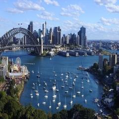 78 Panoramic aerial view of Sydney skyline Australia  Stock Footage