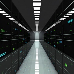 Server room. LED lights are flashing. Technology background Stock Footage
